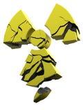 Radioactivity logo yellow coated concrete. 3D rendering of collapsing radioactivity logo made of yellow coated concrete Stock Images