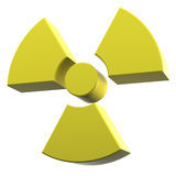 Radioactivity logo yellow coated material. 3D rendering of collapsing radioactivity logo made of yellow coated material Royalty Free Stock Image