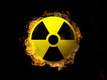 Radioactivity Sign on Fire Stock Photography