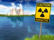 Radioactivity Sign And Nuclear Power Plant. Warning sign with radioactive symbol and nuclear power plant on the coast, 3d render Stock Image