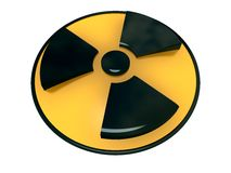Radioactivity Symbol. Three dimensional illustration of a radioactivity symbol.  Isolated against a white background Stock Image