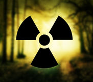 Radioactivity symbol in forest Stock Photography