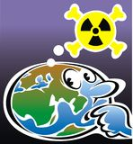 Radioactivity and world map Stock Images