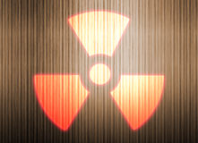radioaktivt symbol för bakgrundsmetall Stock Illustrationer
