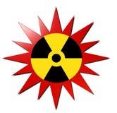 Radioaktivt tecken (med röd explosion) Royaltyfria Bilder