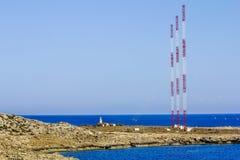 Radioantennes bij Kaap Greco cyprus Stock Afbeeldingen
