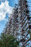 Radiodiecentrum in Pripyat, het gebied van Tchernobyl als de 'Boog 'of 'wordt bekend Duga ' royalty-vrije stock foto's