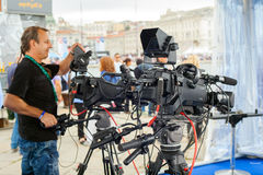 Radiodiffusione e registrazione con la macchina fotografica digitale Fotografie Stock