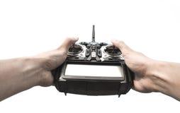 Radiofernbedienung in der Hand lokalisiert auf Weiß Stockfotos