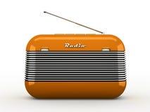 Radiogerät des alten orange Weinleseretrostils auf Weiß Stockbild