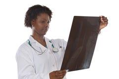 Radiografía de la pizca del doctor de la mujer Fotografía de archivo