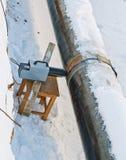 Radiografie van gelaste verbindingen van pijpleidingen in de wintervoorwaarden stock foto's