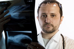 Radiographer, Radiologist looking at an x-ray in hospital Royalty Free Stock Photography