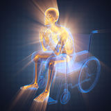 Radiography of man in wheelchair. 3D rendered Royalty Free Stock Photo