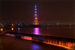 Radiokontrollturm-Nachtwasserfall Fushun Liaoning China lizenzfreie stockbilder
