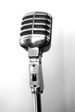 Radioland Microphone. Classic Silver Radio Microphone on Stand stock photo