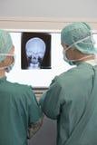 Radiologen die Röntgenstraal van Schedel onderzoeken Royalty-vrije Stock Afbeeldingen