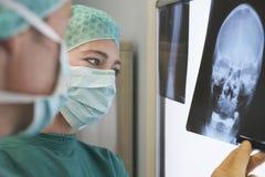 Radiologen, die Röntgenstrahl des Schädels überprüfen Stockbild