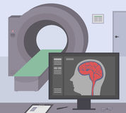 Radiologic room with a computer tomograph. MRI / CT diagnostic scanner and monitor to scan the human brain on the screen. Stock Photography