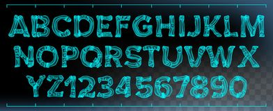 Radiologiczny chrzcielnica wektor Przejrzystego Roentgen Dekoracyjny abecadło Radiologia obrazu cyfrowego Neonowy skutek Błękitna ilustracja wektor