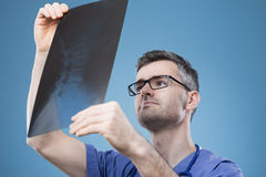 Radiologist checking an x-ray image Stock Photography