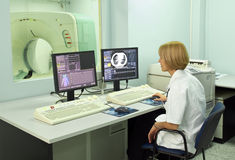Radiologist in control room
