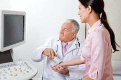 Radiologist Scanning Female Patient's Hand Royalty Free Stock Photo