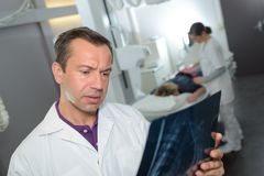 Radiologist worry on xray result Stock Images