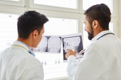 Radiologists discuss x-ray image diagnostic Royalty Free Stock Image