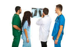 Radiologists with lungs xray. Radiologists having discussion about lungs xray isolated on white background royalty free stock image