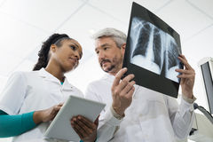 Radiologists With X-ray Using Tablet Computer In Hospital Royalty Free Stock Image