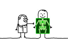 Radiology. Vector hand-drawn characters line Royalty Free Stock Photography