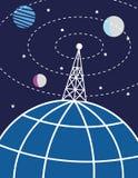 Radiomast och planetjord Arkivbild