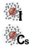 Radionúclidos del yodo 131 y del cesio 137 Foto de archivo
