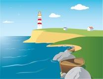 Radiophare sur le bord de la mer illustration libre de droits