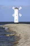 Radiophare Swinoujscie, Pologne de moulin Photos stock