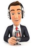 radiopresentatör för affärsman 3d på luft Royaltyfri Bild