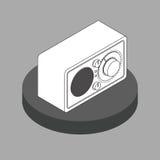 Radioricevitore in bianco e nero isometrico Fotografia Stock