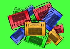 Radios retras de la vendimia colorida vieja stock de ilustración