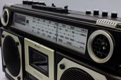 The radios were very large, containing two speakers and a cassette player. stock photo