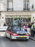 Radioshack Team Car- Paris Nice 2013 Prologue in Houilles. Houilles, France- March 3rd 2013: The accompanying Radioshack Leopard Team car for the cyclist Monfort Royalty Free Stock Photos