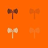 Radiosignaal zwart-wit vastgesteld pictogram Royalty-vrije Stock Afbeeldingen