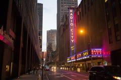 Radiostadsmusik Hall i i stadens centrum Manhattan, New York City Fotografering för Bildbyråer