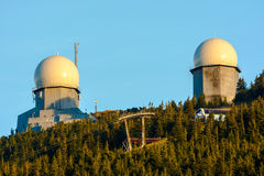 Radiostation and cable car on Grosse Arber mount , Bavarian Fore Royalty Free Stock Photography