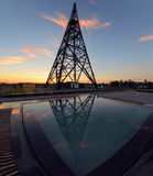 Radiostation tower in Gliwice and reflaction, Poland Royalty Free Stock Photography