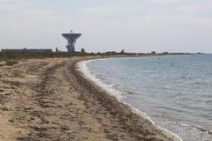 Radiotélescope du centre de télécommunication spatiale éloignée sur la côte de la Mer Noire près du village Molochnoe dans le sec Photos libres de droits