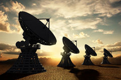 Radiotelescopes silouette at sunset Stock Photography