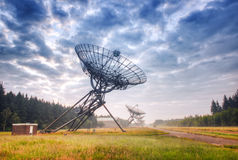 Radioteleskop i Westerbork, Nederländerna Arkivbild
