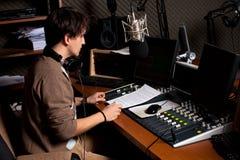 Radiotrasmetta il DJ Fotografia Stock
