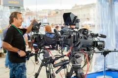 Radioutsändning och inspelning med den digitala kameran Arkivfoton